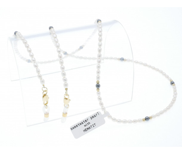 Luxury Real Pearl Chain with Hematite No.253