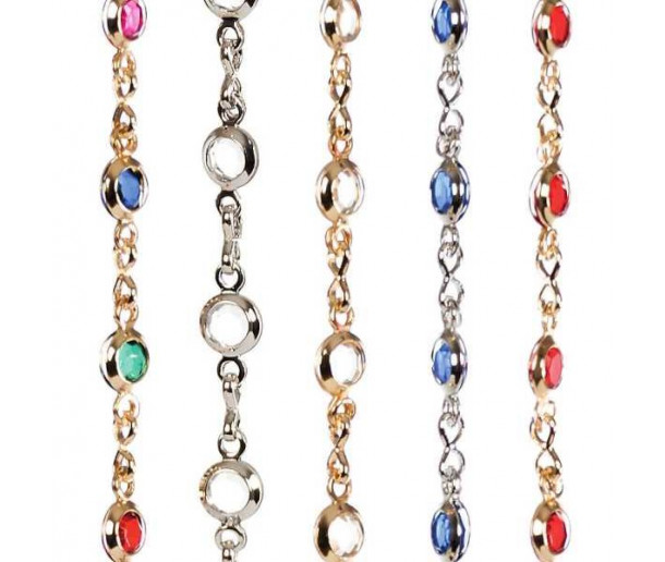 Fine Crystal Chain with Precious Metal Plating